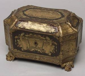 Chinese Export Black Lacquer Tea Caddy