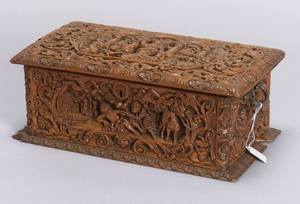 Continental Carved Fruitwood Tea Caddy