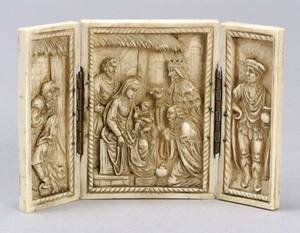 Continental Miniature Carved Ivory Triptych of the Nativity