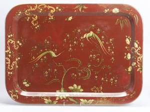 Large Red Painted Victorian Papier Mache Tray