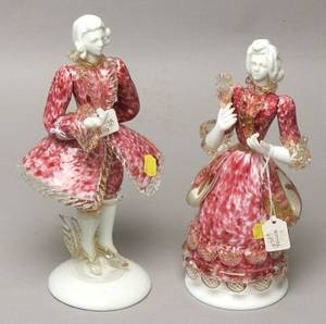 Pair of Venetian Glass Figures of a Lady and Gentleman