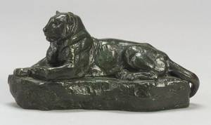 After AntoineLouis Barye French 17961875 Bronze Figure of a Recumbent Panther of IndiaLionne Couchee le Cou Ramesse