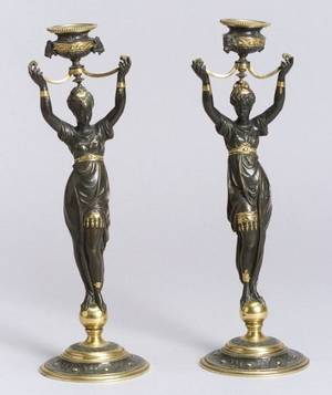 Pair of Empire Gilt and Patinated Bronze Figural Candlesticks