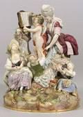 Large Meissen Porcelain Allegorical Figural Group