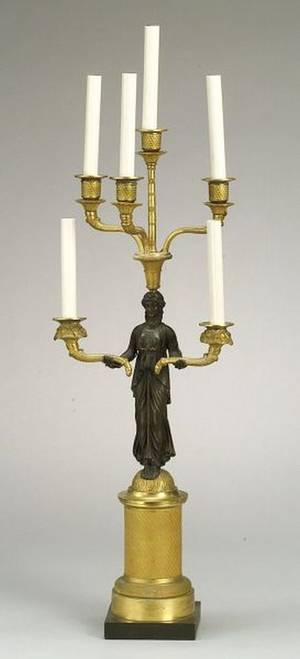 French Second Empire Gilt and Patinated Bronze SixLight Candelabrum