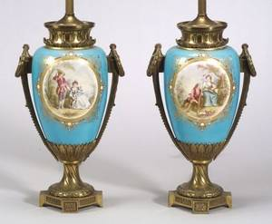 Pair of Sevres Jeweled Porcelain Vase Lamp Bases