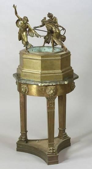 Continental Bronze Art Deco Figural Fountain
