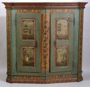 Swiss Country Polychromed Painted Pine TwoDoor Shrank