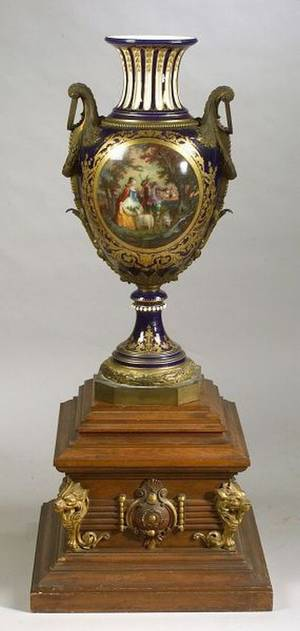 Monumental Sevres Porcelain and Bronze Mounted Urn on Stand