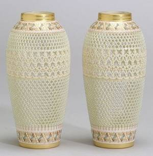 Pair of Royal Worcester Porcelain Reticulated Vases