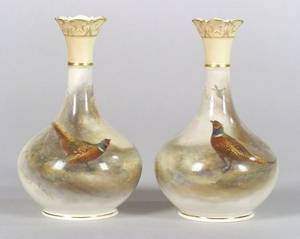 Pair of Royal Worcester Porcelain Handpainted Vases