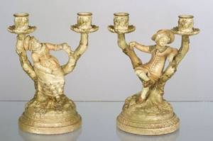 Pair of Royal Worcester Porcelain Figural Candleholders