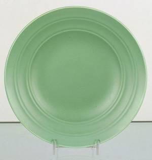 Three Wedgwood Matte Green Ground Keith Murray Design Plates