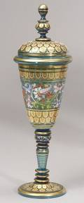 Bohemian Enameled Decorated Glass Goblet