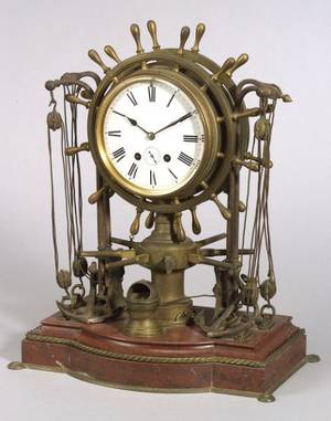 Figural Bronze and Marble Ships Bell Clock