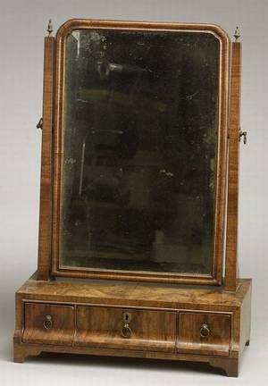Queen Anne Style Burl Walnut Veneered Dressing Table Mirror