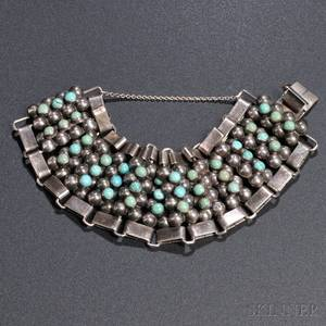 Mexican Sterling Silver and Turquoise Bracelet