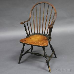 Greenpainted Continuous Knucklearm Windsor Chair