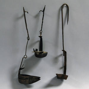 Three Wrought Iron Betty Lamps and Hangers