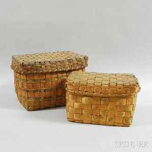 Two Native American Woven Splint Baskets