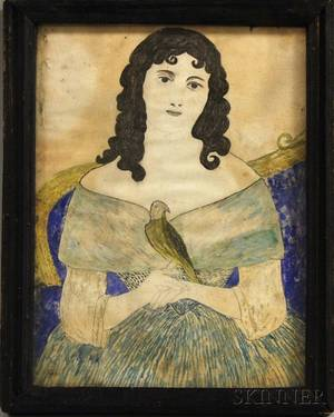 Framed Watercolor Portrait of a Girl with a Bird