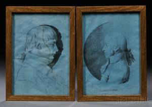 Attributed to James Sharples Sr AngloAmerican 1751521811 Two Profile Sketch Portraits of Gentlemen in Late 18th Century Costume