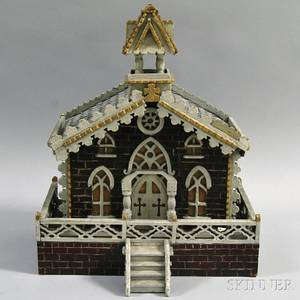 Carved and Painted Folk Art Model of a Victorian Church