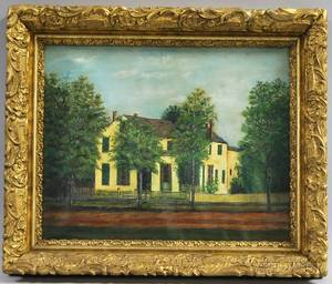 Framed Oil on Canvas Painting of a House