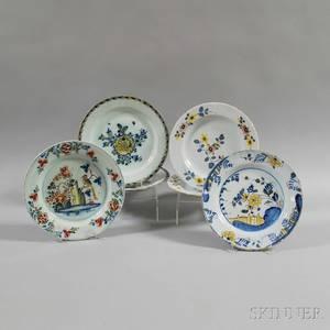Six Polychrome Floraldecorated Plates