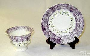 Purple spatter paneled cup and saucer