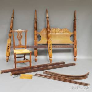 Carved and Turned Walnut Tester Bed and a Chippendale Walnut Side Chair