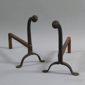 Pair of Wrought Iron Gooseneck Andirons