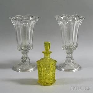 Pair of Colorless Glass Vases and a Yellow Glass Decanter
