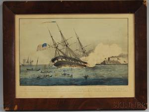 Framed Currier  Ives Handcolored Engraving The Sinking of the Cumberland by the Iron Clad Merrimac Off Newport News VA March 8th