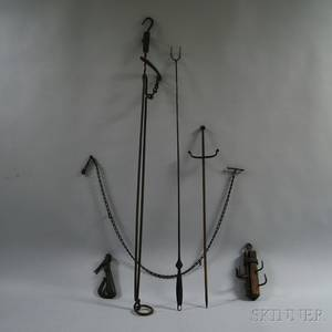Group of Mostly Wrought Iron Domestic Tools
