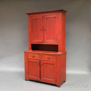 Redpainted Twopiece Stepback Cupboard