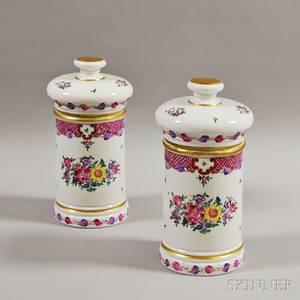 Pair of Samson Porcelain Covered Jars
