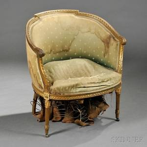 Louis XVIstyle Giltwood Bergere