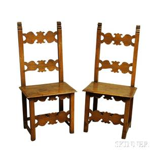 Pair of Continental Carved Walnut Side Chairs