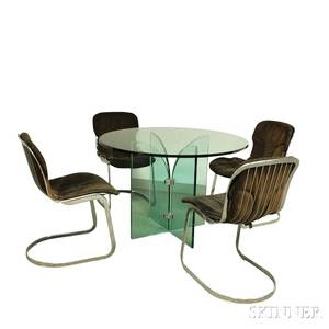 Cidue Midcentury Glass Dining Table and Four Chrome and Suede Chairs