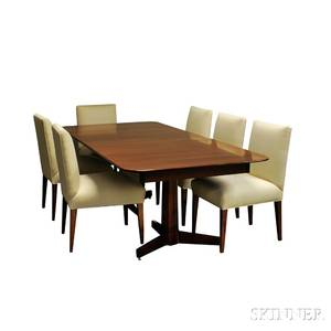 Grayson Design Modern Mahogany Dining Table and Six Upholstered Chairs