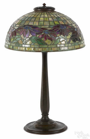 Tiffany Studios patinated bronze table lamp