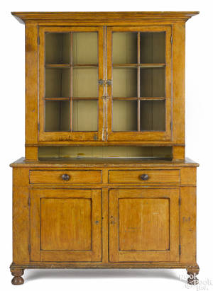 Pennsylvania painted pine Dutch cupboard ca 1830