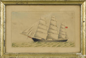Pencil watercolor and cut paper ship portrait of the Albert Edwards ca 1865