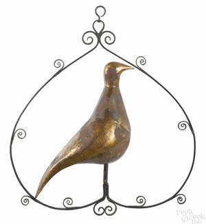 English gilt tin partridge 19th c