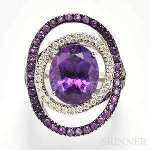 18kt White Gold Amethyst and Diamond Ring John Hardy