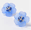 18kt White Gold Dyed Blue Chalcedony Sapphire and Diamond Earclips Aletto Bros