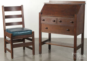 L  J G Stickley mission oak desk and chair