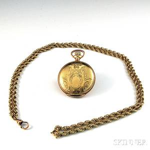Small Goldfilled American Waltham Hunting Case Pocket Watch with 14kt Gold Watch Chain