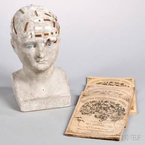 Plaster Phrenology Head by LN Fowler and Three Phrenological Journals